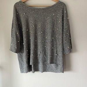 Dantelle Grey Pearl Embellished Sweater